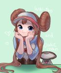 1girl blue_eyes brown_hair creature double_bun eyelashes foongus gen_5_pokemon green_background heart highres long_hair looking_at_viewer minapo pokemon pokemon_(creature) pokemon_special simple_background smile twintails very_long_hair whi-two_(pokemon)