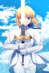 >:) 1girl ahoge artoria_pendragon_(all) bangs blonde_hair blue_bow blue_sky blurry blurry_background bow closed_mouth clouds commentary cowboy_shot day depth_of_field excalibur eyebrows_visible_through_hair fate/stay_night fate_(series) gloves glowing glowing_sword glowing_weapon gogatsu_fukuin green_eyes hair_bow highres holding holding_sword holding_weapon jacket long_sleeves looking_at_viewer outdoors pants saber shirt short_hair sidelocks sky smile solo sword two-handed v-shaped_eyebrows weapon white_gloves white_jacket white_pants white_shirt