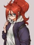 1girl ahoge alternate_hairstyle android_21 backpack bag baggy_clothes black-framed_eyewear blue_eyes brown_hair casual dragon_ball dragon_ball_fighterz earrings expressionless glasses hood hoodie hoop_earrings huge_ahoge jewelry kemachiku long_hair looking_at_viewer ponytail solo