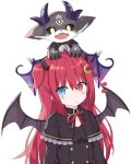 1girl bangs black_capelet black_dress black_wings blue_eyes capelet commentary_request crescent crescent_hair_ornament debidebi_debiru demon demon_girl demon_horns demon_wings dress eyebrows_visible_through_hair frilled_capelet frills hair_between_eyes hair_ornament heterochromia highres horns kuhotaka long_hair neck_ribbon nijisanji on_head red_eyes red_ribbon redhead ribbon simple_background two_side_up upper_body very_long_hair virtual_youtuber white_background wings yuzuki_roa