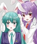 2girls :d :o animal_ears aqua_eyes aqua_hair aqua_neckwear bangs black_jacket blazer blush commentary_request cosplay crescent crescent_moon_pin crossover eyebrows_visible_through_hair fake_animal_ears grey_background hair_between_eyes hatsune_miku highres jacket long_hair long_sleeves looking_at_viewer multiple_girls necktie open_mouth purple_hair rabbit_ears red_eyes red_neckwear reisen_udongein_inaba reisen_udongein_inaba_(cosplay) sagasosei shirt sidelocks simple_background smile speech_bubble touhou translation_request upper_body vocaloid white_shirt