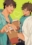 2boys arash_(fate) bespectacled black_hair brown_eyes brown_hair casual coffee_cup cup dark_skin dark_skinned_male disposable_cup earrings fate/prototype fate/prototype:_fragments_of_blue_and_silver fate_(series) glasses heart heart_of_string holding holding_cup hood hoodie jacket_on_shoulders jewelry multiple_boys ozymandias_(fate) tatsuta_age yellow_eyes