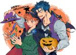 2boys bat_wings blue_hair candy cape cu_chulainn_(fate)_(all) emiya_shirou fang fate/hollow_ataraxia fate/stay_night fate_(series) food halloween hat holding holding_hat jack-o'-lantern lancer multiple_boys orange_hair ponytail tatsuta_age vest wings witch_hat wrapped_candy yellow_eyes
