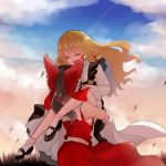 2girls back bare_legs black_footwear black_skirt black_vest blonde_hair bow braid breasts brown_hair carrying closed_eyes clouds cloudy_sky day detached_sleeves eyebrows_visible_through_hair frilled_skirt frills hair_between_eyes hair_bow hair_ribbon hakurei_reimu hands_on_another's_face highres himari-san_yanaika kirisame_marisa long_hair long_sleeves medium_hair midriff multiple_girls no_hat no_headwear nontraditional_miko open_mouth outdoors ponytail red_skirt ribbon sarashi shirt shoes side_braid skirt skirt_set sky small_breasts smile socks thighs touhou tress_ribbon vest white_shirt wide_sleeves wind yuri