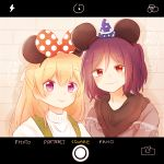 2girls against_wall animal_ears bang_dream! blue_headwear blush bow fake_animal_ears fake_screenshot hair_bow hair_ribbon hat hood hood_down hoodie long_hair looking_at_viewer mouse_ears multiple_girls pan_(pansui) polka_dot polka_dot_bow purple_hair red_bow red_eyes ribbon seta_kaoru shirasagi_chisato shirt short_hair smile star star_print upper_body viewfinder violet_eyes white_ribbon white_shirt witch_hat