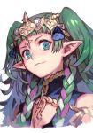 1girl braid circlet fire_emblem fire_emblem:_three_houses green_eyes green_hair hankuri long_hair pointy_ears portrait sothis_(fire_emblem) twin_braids white_background
