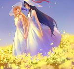 2girls azmodan black_hair blonde_hair blue_hair blue_sky closed_eyes dress field flower flower_field hat hat_ribbon himemiya_chikane holding_hands jewelry kannazuki_no_miko kurusugawa_himeko laughing long_hair multiple_girls necklace petals purple_ribbon red_ribbon ribbon sky sleeveless sleeveless_dress smile sun_hat very_long_hair white_dress wind yellow_flower yuri