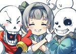 1girl black_hairband blue_hoodie blush cheek_poking closed_eyes collared_shirt crossover ghost green_vest grin hairband hairband_bow highres hood hoodie konpaku_youmu konpaku_youmu_(ghost) papyrus_(undertale) pegashi poking sans scarf shirt short_hair skeleton smile touhou undertale vest white_hair