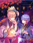 2boys autumn_leaves blonde_hair blue_eyes blue_hair egasumi elemental eye_contact fan gold_trim holding holding_umbrella japanese_clothes kise_ryouta kuroko_no_basuke kuroko_tetsuya lantern looking_at_another male_focus multiple_boys oriental_umbrella paper_fan railing rain smile umbrella wide_sleeves yellow_eyes