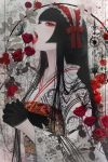 1girl absurdres bangs black_butterfly black_gloves black_hair blood blunt_bangs bonnet braid bug butterfly eyelashes fangs floral_print flower frills genjiguruma gloves gothic_lolita hair_rings half_gloves highres hime_cut huge_filesize insect interlocked_fingers japanese_clothes kikkoumon kikumon kimono lace lace-trimmed_gloves licking lolita_fashion long_hair long_sleeves mole mole_under_eye obi open_mouth original own_hands_together pale_skin petals plant red_eyes red_flower red_lips red_ribbon red_rose ribbon rose sash satsuki_kei sidelocks solo straight_hair symbol_commentary tongue tongue_out unmoving_pattern upper_body vampire vines wide_sleeves