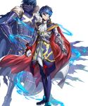 1boy aoi_itsuki armored_boots belt blue_eyes blue_hair boots cape chrom_(fire_emblem) epaulettes facial_mark fire_emblem fire_emblem_heroes full_body gen'ei_ibunroku_sharp_fe gloves highres mikurou_(nayuta) official_art transparent_background