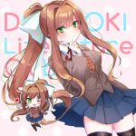 1girl ;d bangs black_legwear blue_skirt brown_hair chibi chromatic_aberration commentary_request copyright_name doki_doki_literature_club eyebrows_visible_through_hair eyes_visible_through_hair green_eyes grey_jacket hair_between_eyes hair_ribbon hand_up heart highres index_finger_raised jacket long_hair long_sleeves looking_at_viewer monika_(doki_doki_literature_club) one_eye_closed open_mouth pleated_skirt ponytail ribbon school_uniform sidelocks simple_background skirt smile thigh-highs touko_56 very_long_hair white_ribbon zettai_ryouiki