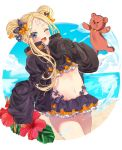 1girl abigail_williams_(fate/grand_order) bandaid_on_forehead bangs beach bikini black_bikini black_bow black_jacket blonde_hair blue_eyes blue_sky blush bow breasts crossed_bandaids double_bun emerald_float fate/grand_order fate_(series) flower forehead frilled_bikini frills heroic_spirit_traveling_outfit hibiscus jacket long_hair long_sleeves looking_at_viewer moriyama_(pixiv47135650) multiple_bows navel ocean one_eye_closed open_clothes open_jacket open_mouth orange_belt orange_bow parted_bangs polka_dot polka_dot_bow sidelocks sky sleeves_past_fingers sleeves_past_wrists small_breasts smile solo stuffed_animal stuffed_toy swimsuit teddy_bear thighs