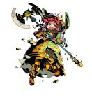 1girl armor armored_boots axe boots bow braid brown_eyes crying fire_emblem fire_emblem_heroes full_body gen'ei_ibunroku_sharp_fe gloves helmet highres himukai_yuuji long_hair minamoto_mamori official_art open_mouth teeth torn_clothes transparent_background twin_braids