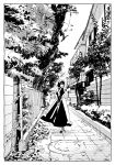 1girl apron arms_behind_back black_dress black_footwear black_hair dress from_behind greyscale leaf looking_at_viewer looking_back maeya_susumu maid_headdress medium_hair monochrome original outdoors smile solo tree walking