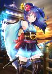 1girl absurdres architecture armor black_legwear blue_eyes blue_hair blurry blurry_background bridge east_asian_architecture flat_chest flower garter_straps glint hair_flower hair_ornament highres huge_filesize japanese_armor katana long_hair outdoors schwinn57 sengoku_fubu sheath smile solo standing sunset sword water weapon wide_sleeves