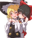2girls absurdres arm_grab black_hair black_headwear blonde_hair blush bow braid detached_sleeves eyebrows_visible_through_hair hair_between_eyes hair_bow hair_ribbon hair_tubes hakurei_reimu hat hat_bow highres hug hug_from_behind kirisame_marisa long_sleeves medium_hair mukkushi multiple_girls nontraditional_miko open_mouth orange_eyes red_eyes ribbon side_braid sidelocks simple_background smile sweatdrop touhou tress_ribbon turtleneck upper_body vest white_background wide_sleeves witch_hat yuri