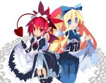 2girls alternate_costume angel angel_wings apron apron_lift blonde_hair blue_eyes blue_ribbon commentary demon_girl demon_tail disgaea earrings etna flonne garter_straps hair_between_eyes highres jewelry juliet_sleeves long_hair long_sleeves maid maid_apron maid_headdress mini_wings miyakawa106 multiple_girls open_mouth pointy_ears puffy_sleeves raised_eyebrow red_eyes ribbon sidelocks skirt skirt_lift skull_earrings tail twintails white_background wings