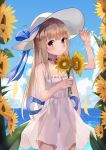 1girl 3h_(artist) absurdres backlighting bangs bare_shoulders blonde_hair blue_sky blunt_bangs blush breasts choker clouds collarbone cowboy_shot day dress eyebrows_visible_through_hair flower frilled_dress frills hand_on_headwear hands_up hat hat_ribbon highres holding holding_flower horizon jewelry long_hair looking_at_viewer ocean original outdoors pendant petals ribbon see-through_silhouette sidelocks sky sleeveless sleeveless_dress small_breasts smile solo standing sun_hat sundress sunflower white_dress