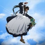 1girl apron black_hair blue_sky clouds cloudy_sky cuffed dark_skin lens_flare long_hair long_sleeves maid maid_apron maid_dress maid_headdress midair no_socks original shoes skateboard sky sneakers solo suzushiro_(suzushiro333)