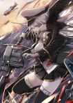 1girl aircraft airplane animal_on_arm azur_lane bare_shoulders bird black_jacket black_legwear black_neckwear black_skirt breasts collared_shirt commentary_request dutch_angle dyolf eagle enterprise_(azur_lane) floating_hair gloves hat holding holding_sword holding_weapon jacket long_hair medium_breasts military_hat necktie ocean off_shoulder open_clothes open_jacket outdoors peaked_cap pleated_skirt shirt silver_hair skirt sleeveless sleeveless_shirt solo sunset sword thigh-highs very_long_hair water weapon white_gloves white_headwear white_shirt