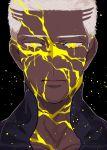 1boy buzz_cut close-up dark_skin dark_skinned_male emiya_alter expressionless face facepaint fate/grand_order fate_(series) kintsugi male_focus paint solo tatsuta_age white_hair yellow_eyes