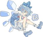 1girl banana_takemura blue_bow blue_dress blue_eyes blue_footwear blue_hair bobby_socks bow cirno dress full_body highres ice ice_wings looking_at_viewer medium_hair puffy_short_sleeves puffy_sleeves shirt shoes short_sleeves simple_background smile socks solo touhou white_background white_legwear white_shirt wings
