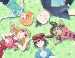 2girls 3boys :d ^_^ black_eyes black_hair black_shirt breasts brown_hair circle_formation closed_eyes collared_shirt day grass green_eyes hat hat_removed headwear_removed lying multiple_boys multiple_girls oikawa_(maa_0124) on_back open_mouth outdoors pokemon pokemon_special red_skirt sana_(pokemon) shirt skirt sleeveless sleeveless_shirt small_breasts smile sunglasses tierno_(pokemon) toroba_(pokemon) white_shirt x_(pokemon) y_na_gaabena