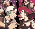 2boys 2girls bandana bandana_over_mouth black_hair black_jacket blue_eyes boombox choker clenched_teeth dark_skin dark_skinned_male english_text eye_contact horn_(instrument) hypnosis_mic jacket looking_at_another microphone multiple_boys multiple_girls parody pink_eyes pink_hair pokemon short_sleeves ssalbulre tank_top team_skull team_skull_grunt team_skull_uniform team_yell team_yell_grunt teeth tongue tongue_out vs vuvuzela