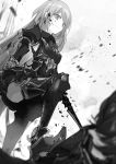 1boy 1girl armor armored_boots armored_dress armpits bangs blood bloody_hair boots bow bowtie cierra_(ra-bit) collared_shirt danganronpa detached_sleeves dress greyscale grin highres holding holding_sword holding_weapon long_hair monochrome novel_illustration official_art shinigami_ni_sodaterareta_shoujo_wa_shikkoku_no_ken_wo_mune_ni_idaku shiny shiny_hair shirt short_dress shoulder_armor sleeveless sleeveless_dress smile solo_focus spaulders standing stepped_on swept_bangs sword thigh-highs thigh_boots very_long_hair weapon wing_collar zettai_zetsubou_shoujo