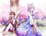 2girls against_tree brown_eyes brown_hair cherry_blossoms dress feng_you grey_eyes luo_tianyi multiple_girls pink_hair sitting standing tree umbrella vocaloid vsinger yuezheng_ling