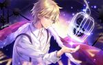 1boy artist_name blonde_hair cage cape clock_zero elemental gears light_smile male_focus pink_eyes shirt solo sparkle suspenders upper_body white_shirt