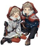 1boy 1girl black_gloves black_pants blue_coat blue_eyes blush brown_footwear brown_hair cape coat fur_trim gloves highres lace looking_at_viewer original pants red_legwear scarf shio_(s_alt_shio) sitting smile squatting white_background