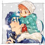 2boys beanie blue_hair blue_jacket breath carrying child cu_chulainn_(fate)_(all) emiya_shirou fate/stay_night fate_(series) fur_trim hat jacket lancer looking_at_another looking_back male_focus multiple_boys orange_hair red_eyes shoulder_carry smile tatsuta_age time_paradox winter yellow_eyes younger
