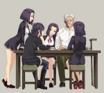 1boy 4girls admiral_(kantai_collection) book ifuji_shinsen kantai_collection multiple_girls old_man purple_hair red_neckwear school_uniform short_hair sitting skirt table tatsuta_(kantai_collection) tenryuu_(kantai_collection) violet_eyes walking_stick white_hair