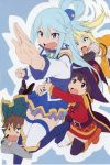 1boy 3girls absurdres aqua_(konosuba) asymmetrical_legwear bandaged_leg bandages belt black_cape black_legwear blonde_hair blue_eyes blue_footwear blue_hair boots breasts brown_hair cape darkness_(konosuba) detached_sleeves dress green_cape hair_ornament hat highres knee_boots kono_subarashii_sekai_ni_shukufuku_wo! long_hair long_sleeves looking_at_viewer megumin multiple_girls satou_kazuma scan thigh-highs thigh_boots thighhighs_under_boots underwear witch_hat x_hair_ornament yamamoto_shuuhei