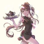 1girl akikoyama alternate_costume armlet bangs bare_shoulders black_dress breasts brown_hair china_dress chinese_clothes commentary cowboy_shot doki_doki_literature_club dress eyebrows_visible_through_hair green_eyes hair_ribbon hand_on_own_chest highres holding holding_tray long_hair looking_at_viewer medium_breasts monika_(doki_doki_literature_club) ponytail ribbon short_dress side_slit sidelocks simple_background sleeveless sleeveless_dress smile solo teapot tray very_long_hair white_ribbon yellow_background