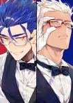 2boys adjusting_eyewear archer bespectacled blue_hair bow bowtie column_lineup cu_chulainn_(fate)_(all) dark_skin dark_skinned_male earrings fate/stay_night fate_(series) glasses grey_eyes jewelry lancer looking_at_viewer looking_down looking_up male_focus multiple_boys red_eyes slit_pupils smile tatsuta_age vest waistcoat white_hair