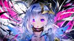 1girl amane_kanata angel_wings armband blood commentary_request glowing glowing_eyes hair_ornament highres hololive looking_at_viewer open_mouth portrait shirt short_hair silver_hair solo violet_eyes virtual_youtuber wings