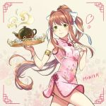 1girl akikoyama alternate_costume armlet bangs bare_shoulders breasts brown_hair character_name china_dress chinese_clothes cowboy_shot doki_doki_literature_club dress eyebrows_visible_through_hair floral_background floral_print green_eyes hair_ribbon hand_on_own_chest heart highres holding holding_tray long_hair looking_at_viewer medium_breasts monika_(doki_doki_literature_club) pink_dress ponytail print_dress ribbon short_dress side_slit sidelocks simple_background sleeveless sleeveless_dress smile solo teapot tray very_long_hair white_ribbon