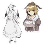 1girl :o apron bangs blush breasts brown_hair brown_hairband closed_mouth collared_dress commentary_request cropped_torso curled_horns demon_girl demon_horns demon_tail demon_wings dress eyebrows_visible_through_hair frilled_apron frilled_dress frills grey_dress hairband highres horns juliet_sleeves long_sleeves medium_breasts multiple_views original parted_lips puffy_sleeves red_eyes shoes simple_background standing tail white_apron white_background wings yuuji_(yukimimi)