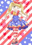 1girl ;d american_flag american_flag_print bangs blonde_hair blue_sky blunt_bangs blush bow bracelet brown_footwear collared_shirt commentary_request eyebrows_visible_through_hair flag_print full_body green_eyes hair_ornament hair_ribbon hand_on_hip heart highres idolmaster idolmaster_cinderella_girls idolmaster_cinderella_girls_starlight_stage jewelry long_hair mary_cochran mary_janes one_eye_closed open_mouth pantyhose print_skirt red_ribbon red_shirt regular_mow ribbon shirt shoes short_sleeves skirt sky smile solo standing star star_hair_ornament star_print striped striped_legwear twintails v-shaped_eyebrows very_long_hair yellow_bow