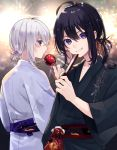 2boys absurdres ahoge asuma_(hanezu) candy_apple fan festival fireworks folding_fan food grin highres honebami_toushirou japanese_clothes kimono lens_flare looking_back male_focus multiple_boys namazuo_toushirou ponytail smile touken_ranbu violet_eyes white_hair yukata