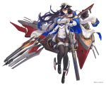 1girl bangs bare_shoulders black_footwear black_hair black_legwear boat breasts buttons closed_mouth commentary_request dress elbow_gloves full_body gloves hat holding holding_weapon ibuki_(steelblue_mirage) jacket_on_shoulders large_breasts loafers looking_at_viewer machinery mole mole_on_body necktie official_art pantyhose peaked_cap pelvic_curtain polearm red_eyes shiny shiny_hair shoes simple_background solo steelblue_mirage turret watercraft weapon white_background white_coat white_dress white_gloves yoshiku_(oden-usagi)