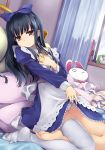 alarm_clock bangs black_hair blue_bow book bow brown_eyes character_request clock curtains dress dress_lift hair_bow hand_up hourou_musuko indoors long_hair long_sleeves on_bed panties pillow single_thighhigh solo stuffed_animal stuffed_bunny stuffed_toy thigh-highs underwear white_legwear white_panties window yamai