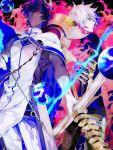 2boys arjuna_(fate/grand_order) arrow black_hair bodysuit bow_(weapon) cape color_contrast dark_skin dark_skinned_male drawing_bow eyeshadow fate/grand_order fate_(series) fur_trim gloves karna_(fate) makeup male_focus multiple_boys pale_skin tatsuta_age weapon white_gloves white_hair