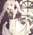 1girl apron bangs black_ribbon blonde_hair blue_eyes blush breasts commentary_request dress eyebrows_visible_through_hair fate/grand_order fate_(series) gloves hair_ornament hat highres long_hair looking_at_viewer maid_dress maid_headdress marie_antoinette_(fate/grand_order) open_mouth ribbon silver_hair smile solo twintails very_long_hair white_apron yua_(bokubo0806)