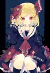 1girl black_legwear black_shirt blonde_hair blue_background feet_out_of_frame flower frills hair_flower hair_ornament hair_ribbon hand_up highres looking_at_viewer nikorashi-ka pointy_ears red_eyes red_neckwear red_ribbon ribbon rumia sailor_collar shirt short_hair sitting sleeves_past_wrists socks solo touhou