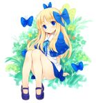 bare_legs blonde_hair blue_eyes bow butterflies butterfly capelet floral_background flower hair_bow hair_ribbon hair_ribbons kurasuke legs long_hair mary_janes no_socks original panchira_sit panties pantyshot pantyshot_sitting ribbon ribbons shoes sitting smile underwear
