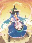 floating_object food from_above frown fruit hat hinanawi_tenshi long_hair looking_at_viewer minamura_haruki open_mouth peach peaches red_eyes ribbon ribbons rock serious sunset sword sword_of_hisou touhou weapon